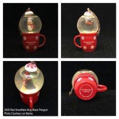 2009 Red Snowflake Mug-Black Penguin Starbucks Ornament