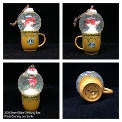 2009 Snow Globe Gold Mug-Bird Starbucks Ornament