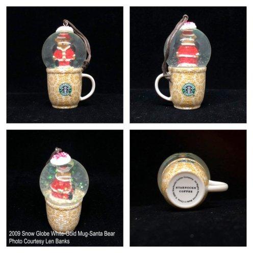 2009 Snow Globe White-Gold Mug-Santa Bear Starbucks Ornament