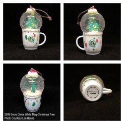 2009 Snow Globe White Mug-Christmas Tree Starbucks Ornament