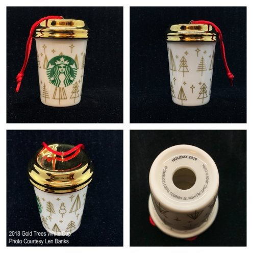 2018 Gold Trees White Cup Starbucks Ornament