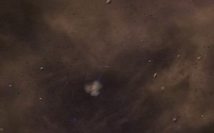 Harvesting minerals in an asteroid field