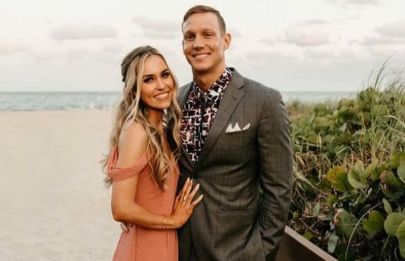 Caeleb Dressel with his wife