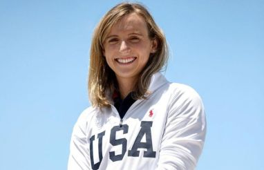 Katie Ledecky supporting team USA