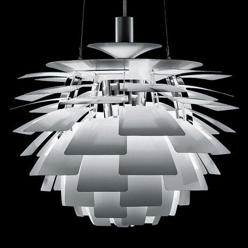 Louis Poulsen Large Arhitectural PH Artichoke Modern Danish Lamp In Stainless Steel By Poul