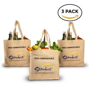 compostable organic jute reusable shopping bags - 3-pack