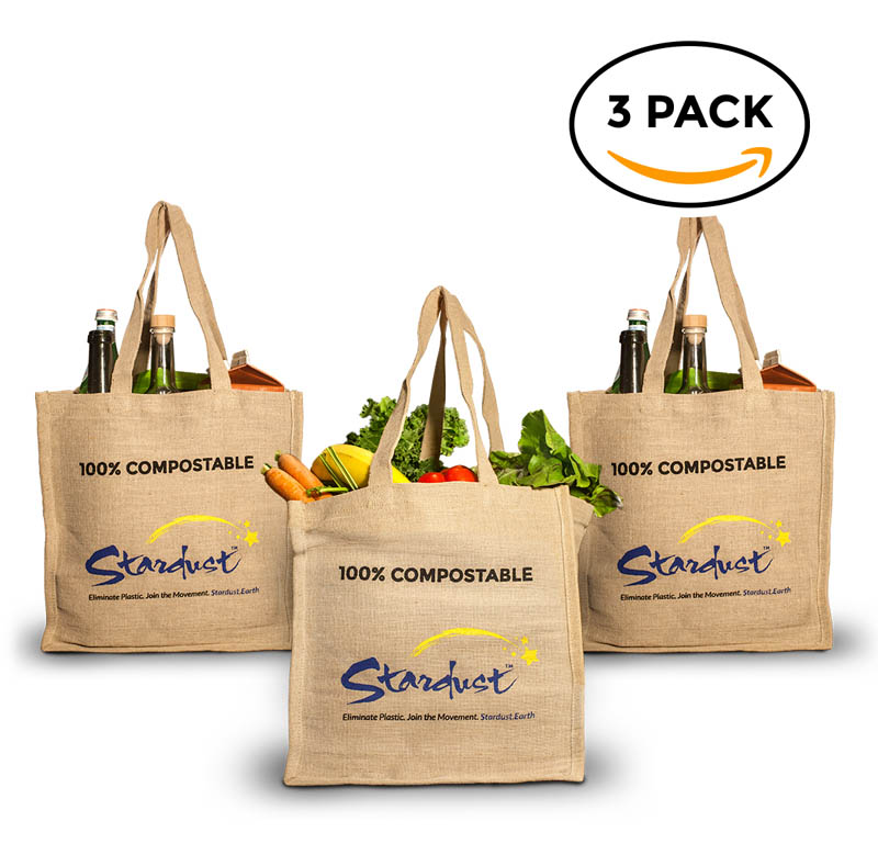 compostable organic jute reusable shopping bags - 3-pack