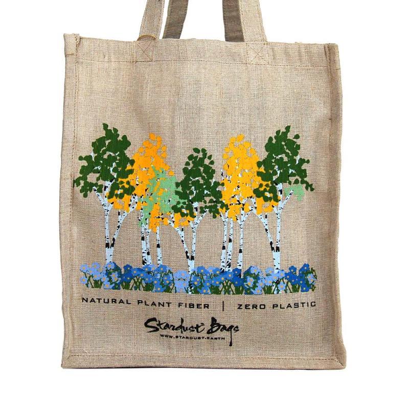 Aspens reusable compostable jute shopping grocery bag