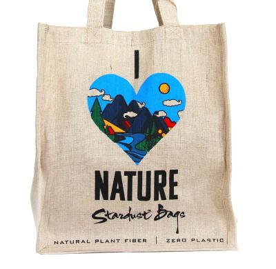 I Love Nature reusable compostable jute shopping grocery bag