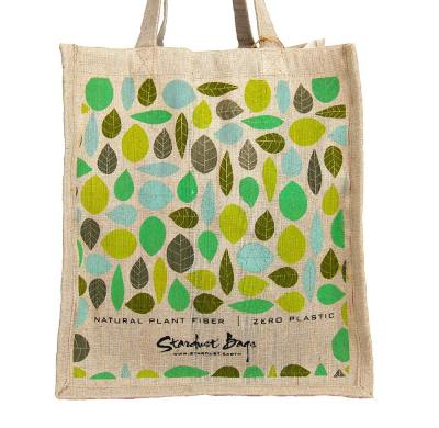 Leaves reusable compostable jute shopping grocery bag