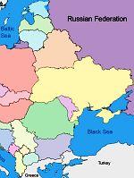 România (cu verde). Ucraina (galben), Belarus (ocre), Polonia şi Ungaria (portocaliu). Acestea sunt unele dintre statele din fostul bloc comunist vizate de hegemonica Rusia (mov).