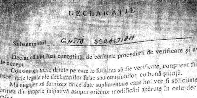 Sebastian Ghiţă a fost colaborator al SRI încă din anul 2004