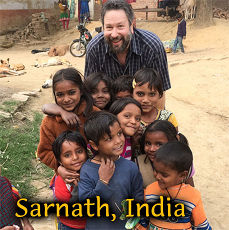 George with Children, Sarnath, India