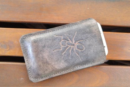 Ant leather phone sleeve/wallet, handmade