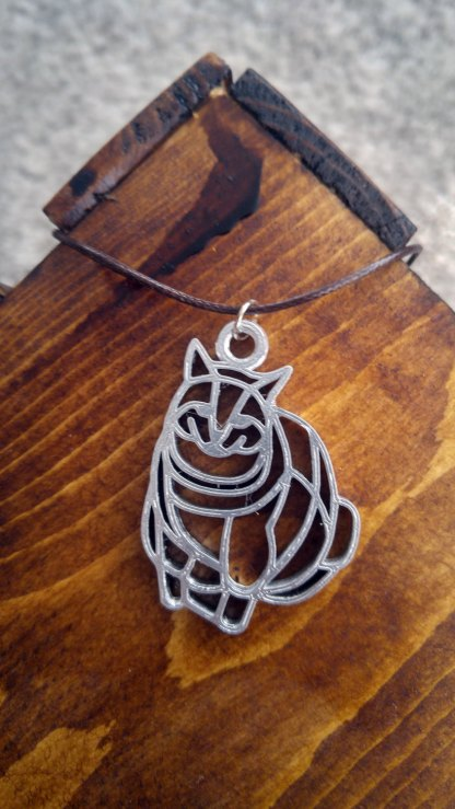 Chubby cat statement pendant/necklace in silver (B)