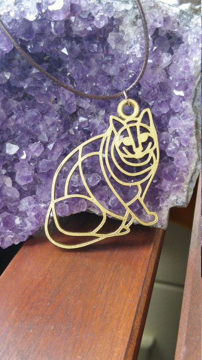 Chubby cat statement pendant/necklace in silver or gold (A)