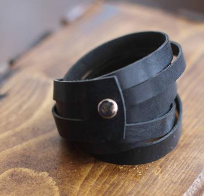 Genuine black leather double wrap bracelet/cuff with silver snaps