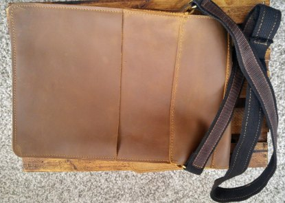 Handmade, genuine stone-oiled leather unisex satchel/bag/purse with adjustable strap