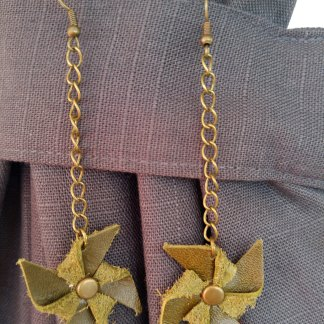 Leather pinwheel earrings