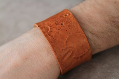 Lunar landscape genuine leather cuff