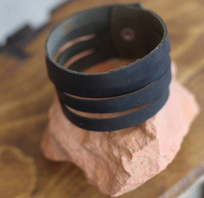 Multi-bracelet genuine black leather cuff