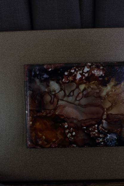 """Original 3x6 tile alcohol ink painting (""""Deep Earth""""), ready to hang art"""