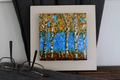 "Original 4x4 tile alcohol ink painting (""Autumn Aspen""), ready to hang art"