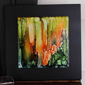 """Original 6x6 tile alcohol ink painting (""""Lost""""), ready to hang art"""