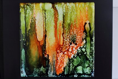 "Original 6x6 tile alcohol ink painting (""Lost""), ready to hang art"