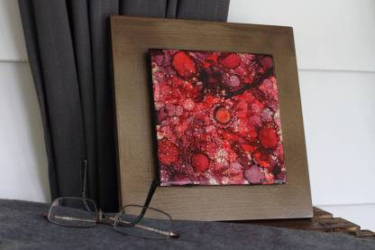"""Original 6x6 tile alcohol ink painting (""""Red & Gold""""), ready to hang art"""