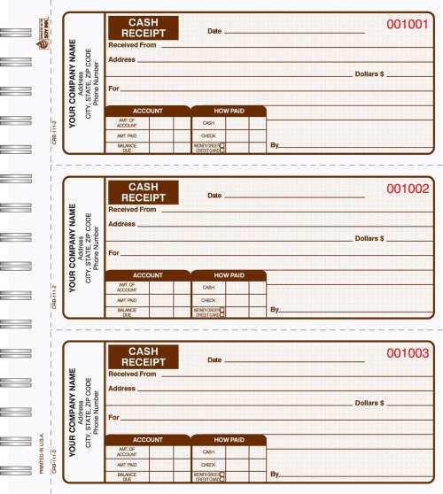 2 Part Cash Receipt Books 3 up to a page CRB-111-2