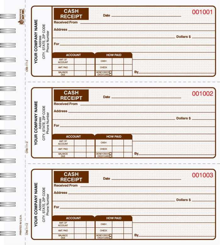 2 Part Cash Receipt Books 3 up to a page CRB-111-2