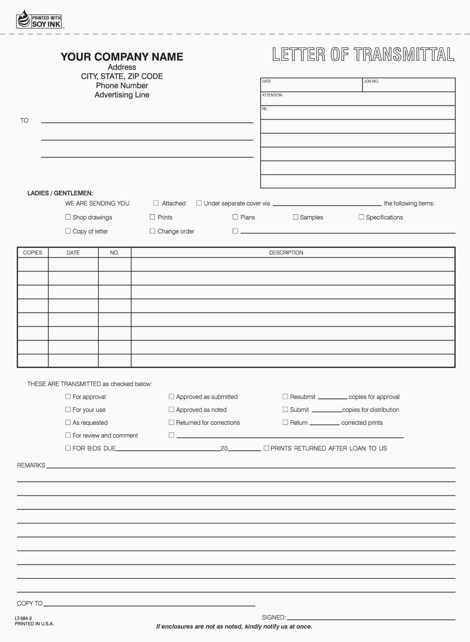 Letter Of Transmittal Form LT 584 2