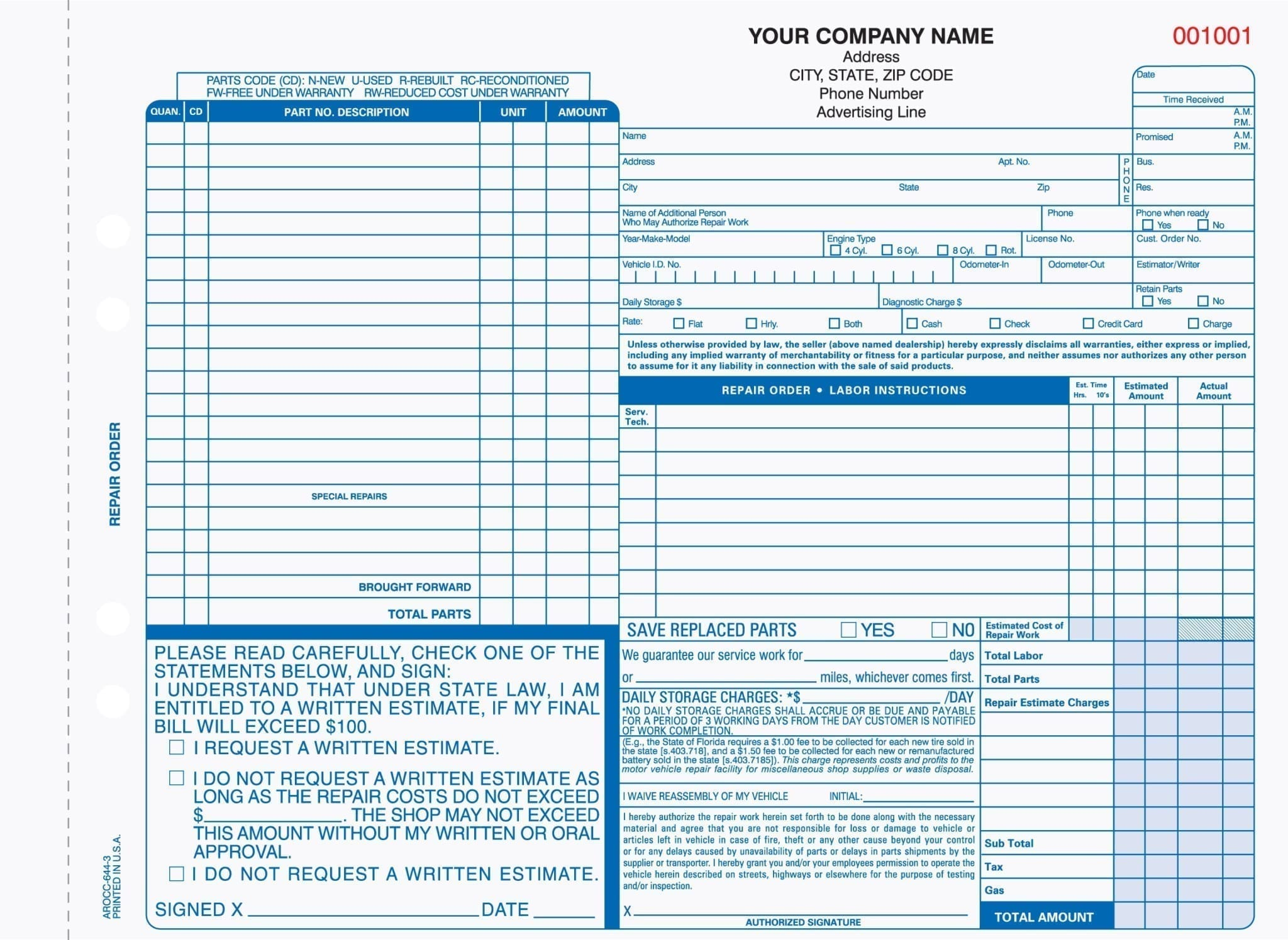 3 part auto repair service invoice carbonless for use in for Florida auto repair invoice