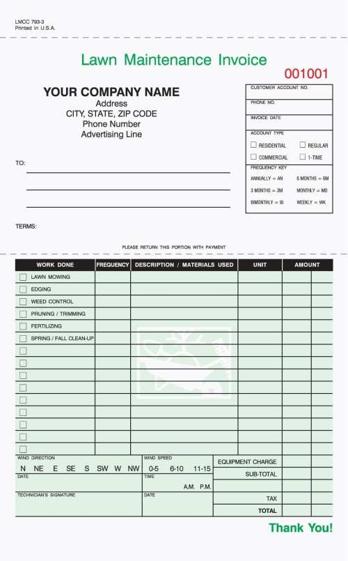 3-Part Lawn Care Invoice, Carbonless, 5 2/3