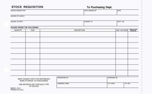Part Stock Requisition Form Carbonless  Purchasing Products