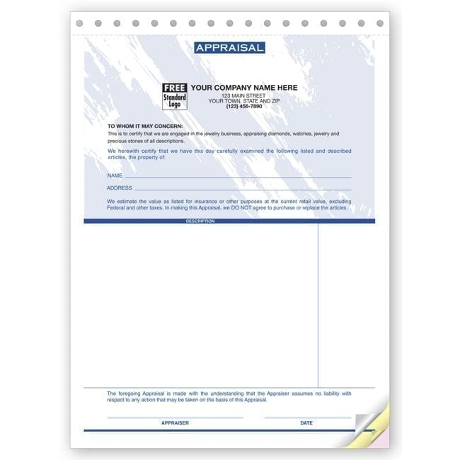 Part Jewelry Appraisal Forms