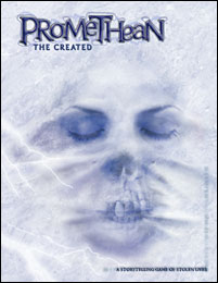 Cover for Promethean: The Created. A dead woman's face is hinted at through a sheet. The image is eerie and still.