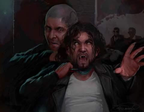 A man garrotes a vampire