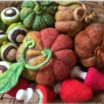 needle felted pumpkins, mushrooms and conkers