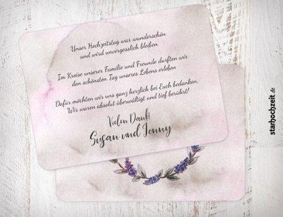 Dankeskarte, Danksagungskarte Susan und Jonny 2Seiten quer , Ecken veredelt, abgerundet