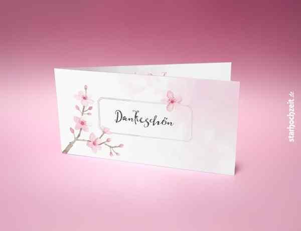 Dankeskarte Hochzeit, Dankeskarte Klappkarte, Dankeskarte, Danksagungskarten Hochzeit, Danksagung Hochzeit, Kirchblüten, elegant, Wir sagen Danke, Dankeschön, Klappkarte, 4 Seiten, Dinlang