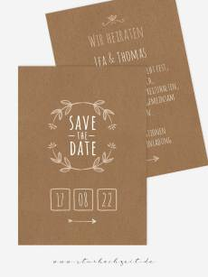 Save the Date, Kraftpapier, Hochzeit, Einladung, Einladungskarte, Hochzeitseinladungen