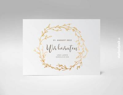 Einladungskarten Hochzeit, Blumengold - Goldene Hochzeit, Einladungskarte, Goldene Hochzeit, Einladungskarte Hochzeit, Einladung Hochzeit
