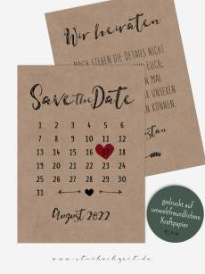 Save the Date Karte, Kalender, Herz, rot Kraftpapier, Vintage, modern, Hochzeitskalender