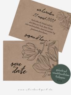 Save-the-Date Karten, Kraftpapier Magnolie, Liebe, modern, aussergewöhnlich