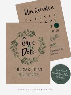 Save the Date Karten, Kraftpapier, Soft Greenery, Hochzeit, Grün, Natur, außergewöhnlich, Eukalyptus, Kalender Hochzeit