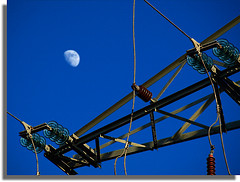 The Moon and some electric power lines