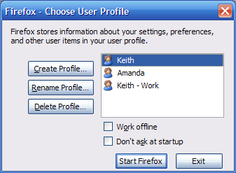 The Firefox Profile Manager with 3 profiles