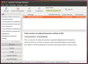 "Ubuntu package manager - showing ""netbook-launcher-efl"" package"